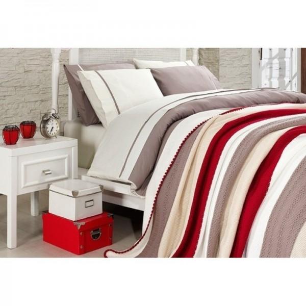 100% памучен спален комплект с плетено одеяло - Бежово райе