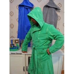 Хавлиено-плюшен халат в зелено от 100% памук - ФИНЕС