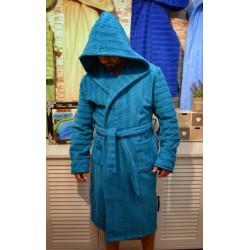 Хавлиено-плюшен халат в синьо от 100% памук - КОМФОРТ