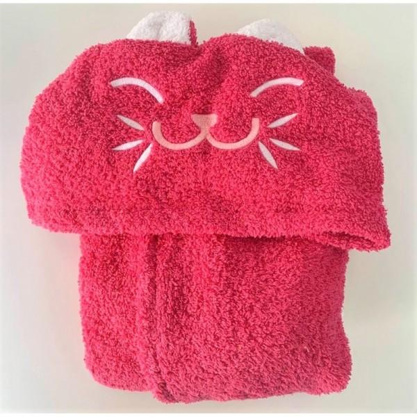 Микропамучен детски халат за баня - Pink Cat