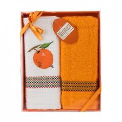 Луксозен сет от 2 бр. кърпи за ръце и лице 40/60  - 100% Памук - Tangerine