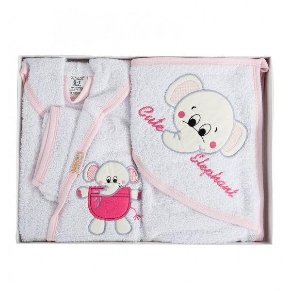Комплект от плътен халат с хавлия за бебе - 100% Памук - Cute Elephant