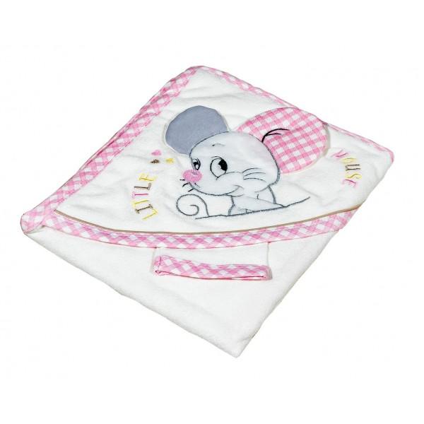 Уютна хавлия за бебе - 100% Памук - Pink Little Mouse