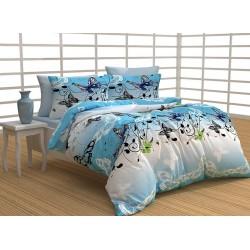 Стилно спално бельо с олекотена завивка - 100% Памук  - Aria Вlue