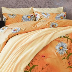 Изискано спално бельо - 100% Памук - Flower Orange