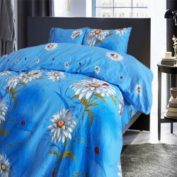 Стилно спално бельо - Памук - Blue Daisy