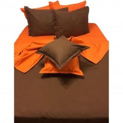 Първокласно спално бельо  с две лица - 100% Памук Ранфорс - Orange&Brown