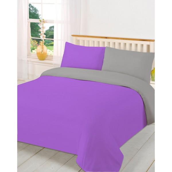 Двулицев спален комплект - 100% Полиестер - Purple&Grey
