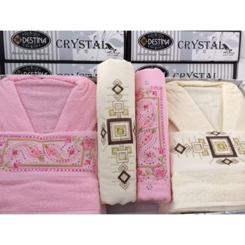 c813f9fe0f6 Комплект 2 бр. халати и 4 бр. хавлиени кърпи - Old Rose/Ivory