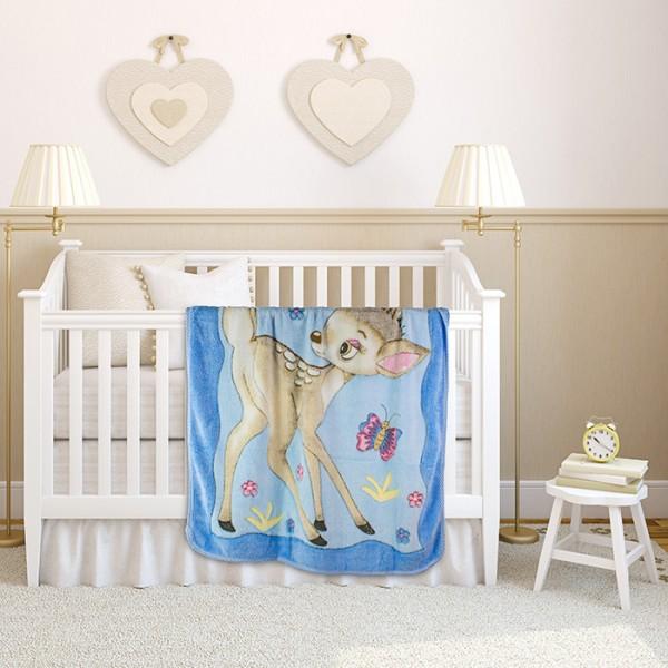 Меко бебешко одеяло Deer Blue