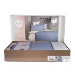 Стилно спално бельо - 100% Сатениран Ранфорс Памук - Gray&Blue