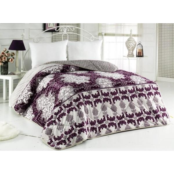 3в1 плюшено одеяло, олекотена завивка и шалте - 100% Силиконов Пух - Purple