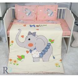 Луксозно спално бельо за бебе - 100% Памучен Сатен - Elephant Nelly