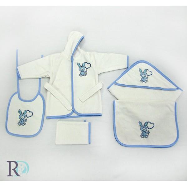 Универсален хавлиен сет за бебе от 5 части - Blue Sky