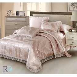 Блестящ спален комплект - 100% Памучен Сатен - Lilith Pudra