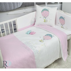 Еко спално бельо с чаршаф с ластик за бебе - 100% Памук - Funny Balloon
