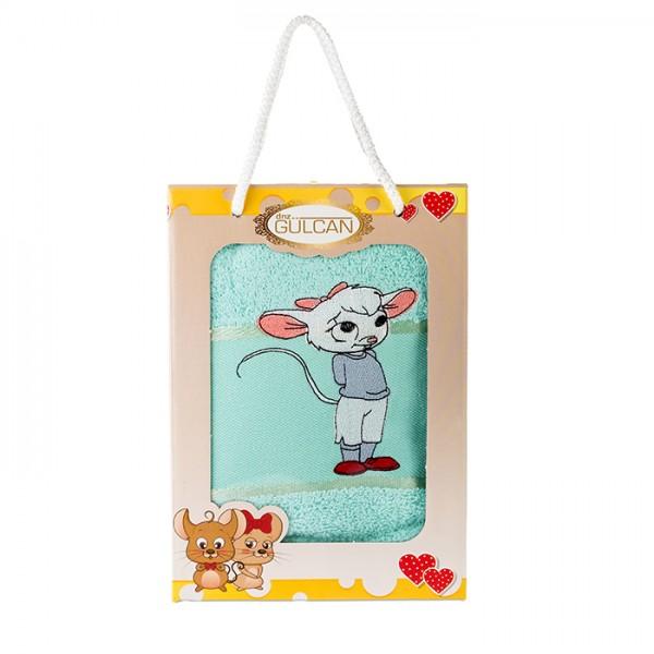 Детска кърпа с апликация - 100% Памук - Mouse Aqua