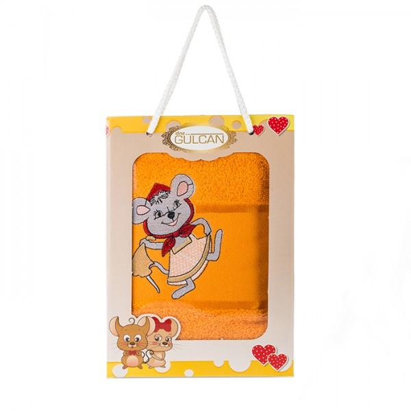 Детска кърпа с апликация - 100% Памук - Mouse Orange